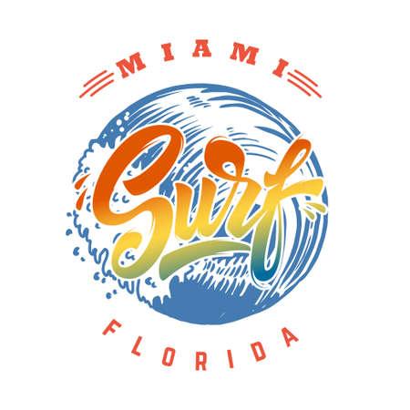 Miami surf. Emblem template with waves and palms. Design element for poster, card, banner, sign, emblem. Vector illustration