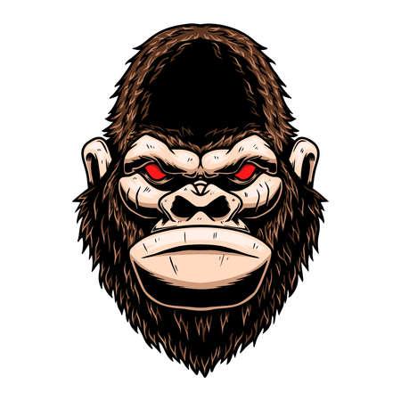 Illustration of angry gorilla head. Design element for logo, label, sign, emblem, poster. Vector illustration Illustration