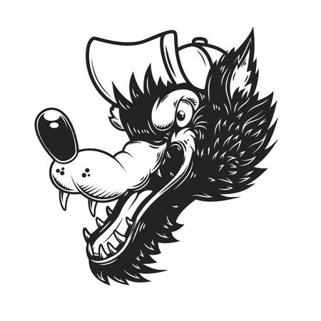 Illustration of cartoon wolf in baseball cap. Design element for poster, card, banner, sign, logo. Vector illustration