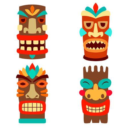Set of illustrations of tiki masks in flat style isolated on white background. Design element for logo, label, sign, emblem, poster. Vector illustration
