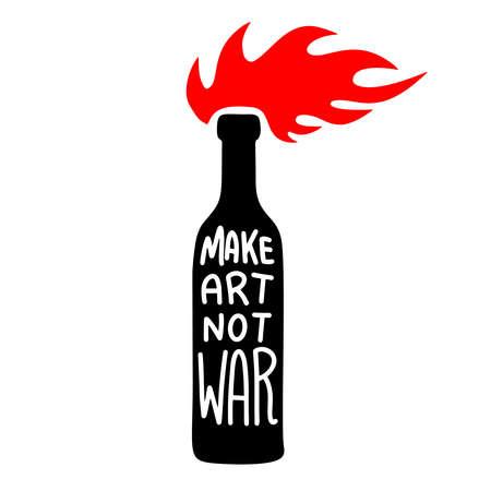 Illustration of bottle with molotov cocktail. Make art not war. Design element for logo, label, sign, emblem, poster. Vector illustration