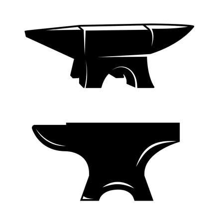 Set of illustrations of blacksmith anvil. Design element for logo, label, sign, emblem, poster. Vector illustration