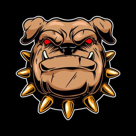 Illustration of angry bulldog head. Design element for logo, label, sign, emblem, poster. Vector illustration