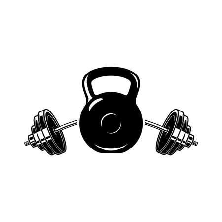 Illustration of kettlebell and barbell. Design element for logo, label, sign, emblem, poster. Vector illustration