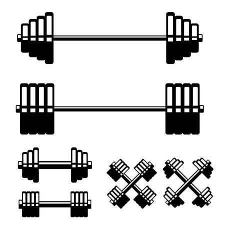 Set of barbell and dumbbells isolated on white background. Design element for logo, label, sign, emblem, poster. Vector illustration