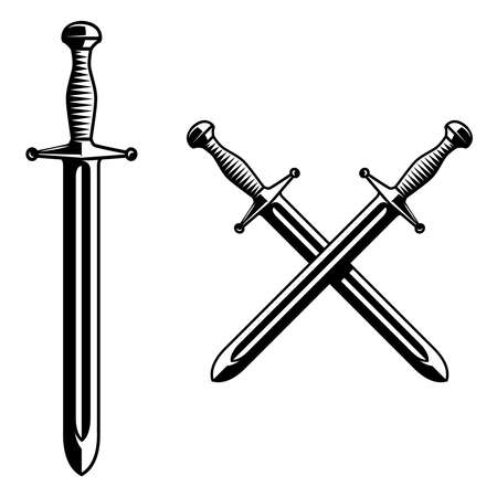 Illustration of knight swords in monochrome style. Design element for logo, label, sign, poster. Vector illustration Illustration