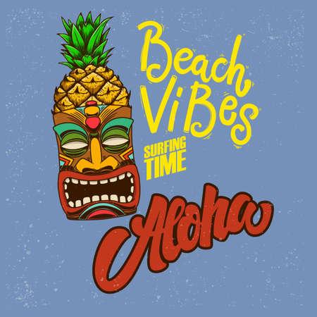 Beach vibes. Aloha. Emblem template with tiki idol. Design element for poster, card, banner, sign, emblem. Vector illustration
