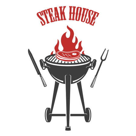 Steak house. Grill with roasted meat. Design element for poster, card, banner, sign, logo. Vector illustration