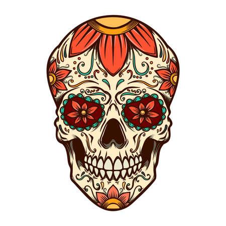 Illustration of mexican sugar skull. Design element for logo, label, sign, poster. Vector illustration Illustration