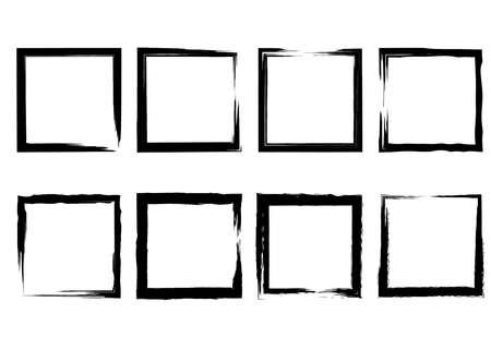 Set of grunge squares from brush strokes. Design element for poster, emblem, sign, logo. Vector illustration Illustration