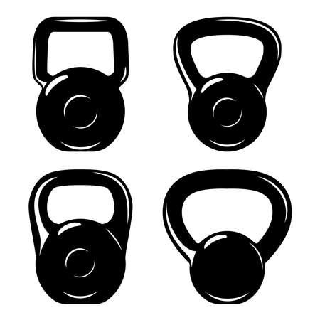Illustration of set of fitness kettlebells. Design element for  label, sign, emblem, poster. Vector illustration Illustration