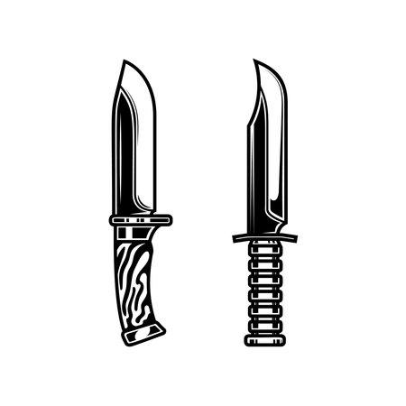 Illustration of combat knives. Design element for  label, sign, emblem, poster. Vector illustration
