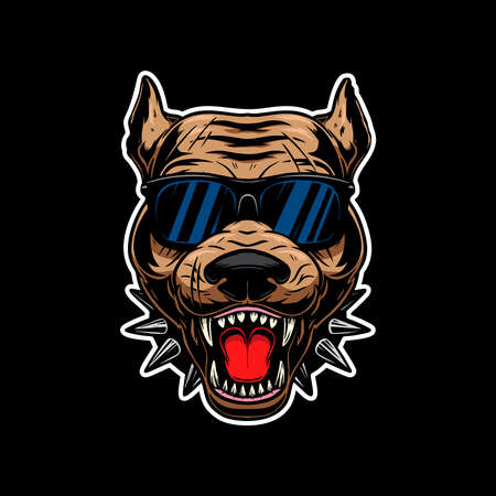 Illustration of angry pit-bull terrier head in sunglasses. Design element for label, sign, emblem, poster. Vector illustration Illustration