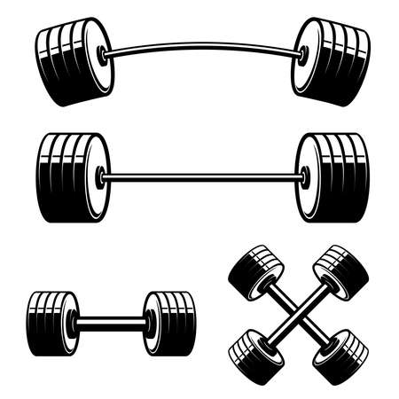 Set of barbell and dumbbells isolated on white background. Design element for label, sign, emblem, poster. Vector illustration