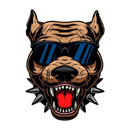 Illustration of angry pit bull head in sunglasses. Design element for  label, sign, emblem, poster. Vector illustration