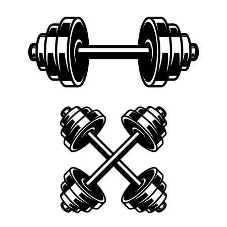 Fitness dumbbells isolated on white background. Design element for  label, sign, emblem, poster. Vector illustration Illustration