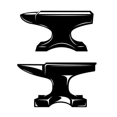 Set of illustrations of blacksmith anvil. Design element for label, sign, emblem, poster. Vector illustration Illustration