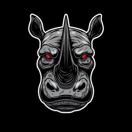Illustration of angry rhino head. Design element for label, sign, emblem, poster. Vector illustration