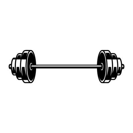 Illustration of Weightlifting barbell. Design element for label, sign, emblem, poster. Vector illustration Illustration