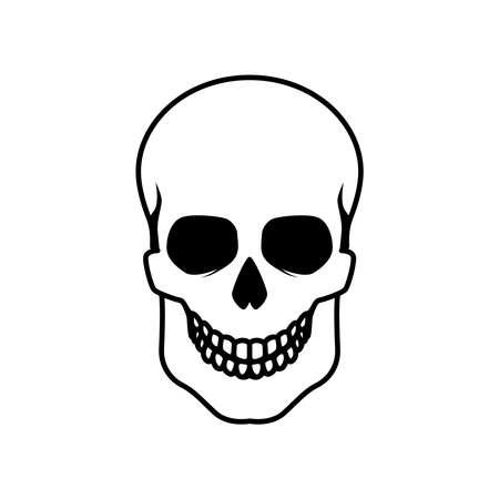 Illustration of human skull. Design element for label, sign, emblem, poster. Vector illustration
