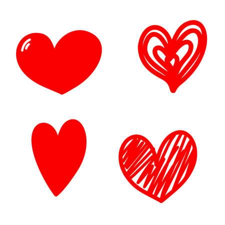 Set of illustrations of doodle hearts. Design element for poster, card, banner, sign, emblem. Vector illustration