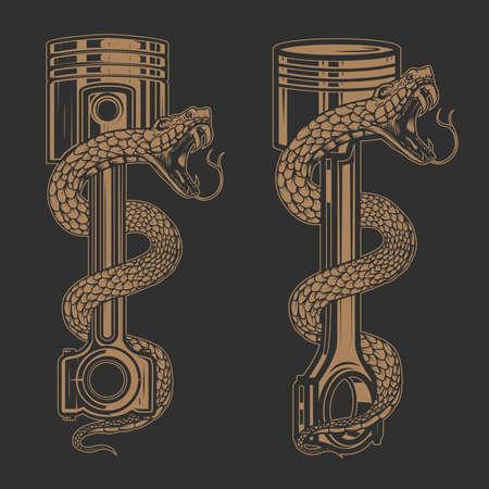 Illustrations of snake on car piston. Design element for poster, card, banner, sign. Vector illustration Illustration