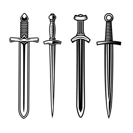 Set of illustrations of knight swords. Design element for  label, sign, emblem, poster. Vector illustration Illustration