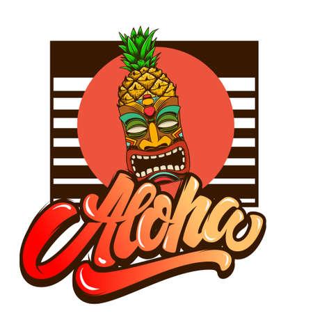 Aloha. Emblem template with tiki idol. Design element for poster, card, banner, sign, emblem. Vector illustration Illustration