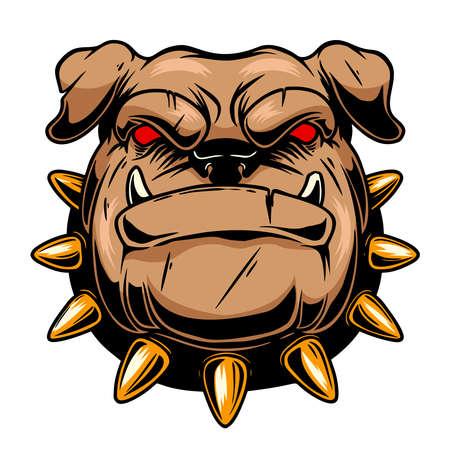 Illustration of angry dog head. Design element for  label, sign, emblem, poster. Vector illustration