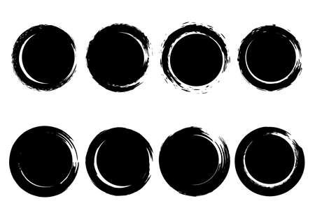 Set of grunge circles from brush strokes. Design element for poster, emblem, sign, logo. Vector illustration