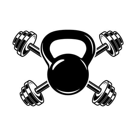 Emblem with kettlebells and barbells. Design element for logo, label, sign, emblem, poster. Vector illustration Illustration