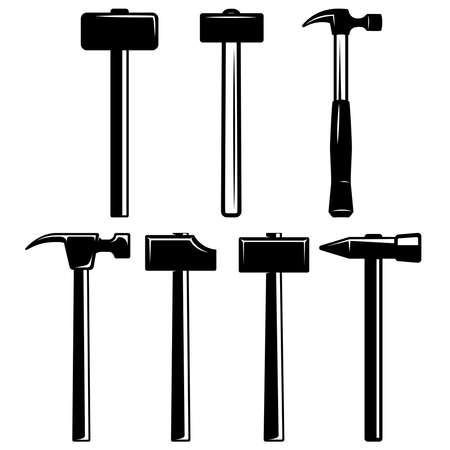 Set of illustrations of blacksmith hammers. Design element for logo, label, sign, emblem, poster. Vector illustration Illustration