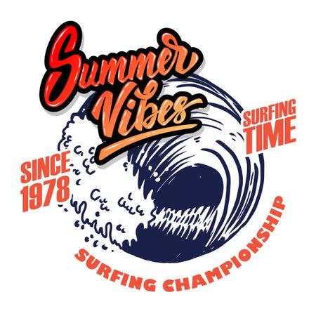 Summer Vibes. Emblem template with sea waves. Design element for poster, card, banner, sign, emblem. Vector illustration