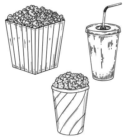 Illustration of popcorn and soda. Design element for poster, card, banner, menu. Vector illustration