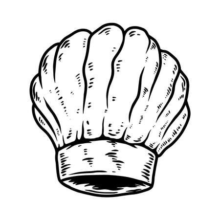 Illustration of chef hat. Design element for logo, label, sign, emblem, poster. Vector illustration Illustration