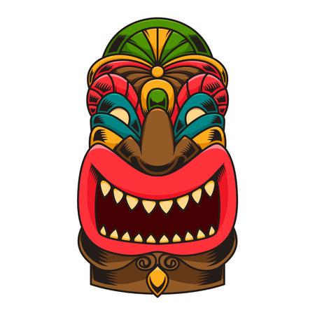 Illustration of tiki idol. Design element for logo, label, sign, poster. Vector illustration Illustration