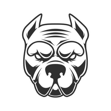 Illustration of funny pitbull terrier head. Design element for logo, label, sign, emblem. Vector illustration