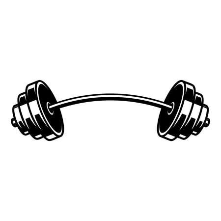 Illustration of Weightlifting barbell. Design element for logo, label, sign, emblem, poster. Vector illustration
