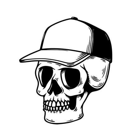 Illustration of skull in baseball cap in monochrome style. Design element for logo, emblem, sign, poster, card, banner. Vector illustration Illustration