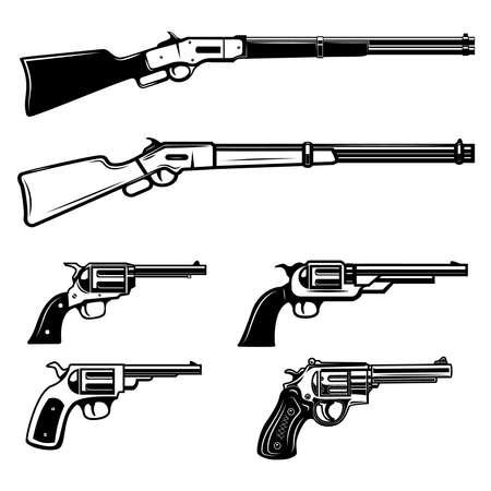 Set of illustrations of cowboy weapon. Revolvers, Winchester rifle. Design element for logo, label, sign, emblem, poster. Vector illustration