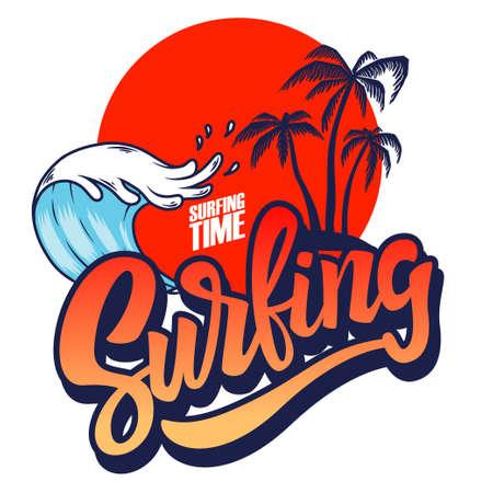 Surfing. Emblem template with waves and palms. Design element for poster, card, banner, sign, emblem. Vector illustration
