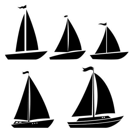 Set of yacht icons. Design element for logo, label, sign, poster. Vector illustration