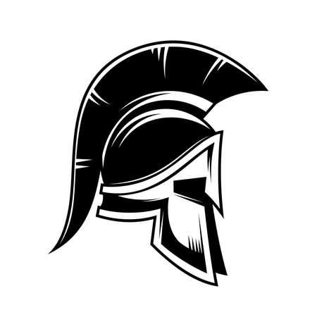 Illustration of spartan warrior helmet. Design element for logo, label, sign, poster. Vector illustration