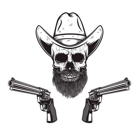 Illustration of skull in cowboy hat with revolvers. Design element for logo, label, sign, poster. Vector illustration