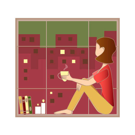 Modern portrait for lifestyle design of caucasian woman watching window at night. Fun entertainment. White background.