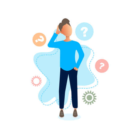 Newbie concept vector illustration. Confused man character isolated. Man is trying to find answer. Bright vector illustration.
