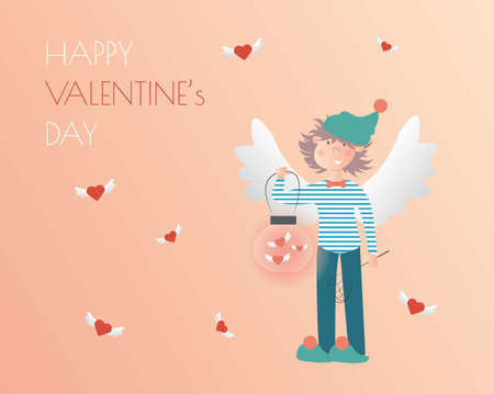 Happy valentines day horizontal banner design. Gradient background. Holiday greeting card. Isolated vector illustration. Cute romantic angel with hearts vector. Love symbol.