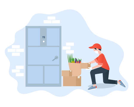 Contactless delivery concept vector illustration. Grocery shopping. Healthy food safe delivery. Man is delivering order made via internet.
