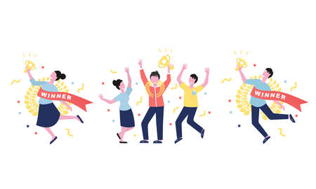 Happy people are holding award cups. Cartoon style vector illustration. First prize winners holding award cups for web design. Flat vector isolated on white background.