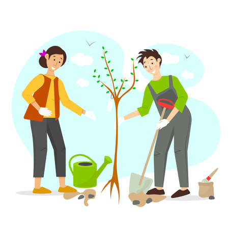 Gardening vector concept illustration. Man and women plant a tree. Volunteers are planting a tree. Garden work vector concept in a flat cartoon style.